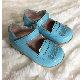 Детские туфли Bebbini бирюзовые для девочек натуральная лаковая кожа размер 24-26 (2299) Фото 6