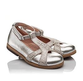 Детские туфли Bebbini серебряные для девочек натуральная кожа размер 21-22 (2301) Фото 1