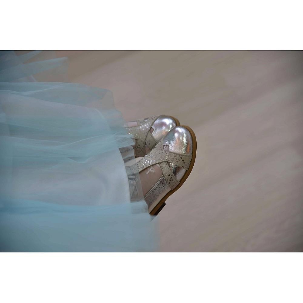 Детские туфли Bebbini серебряные для девочек натуральная кожа размер 21-30 (2301) Фото 2