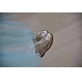 Детские туфли Bebbini серебряные для девочек натуральная кожа размер 21-22 (2301) Фото 2