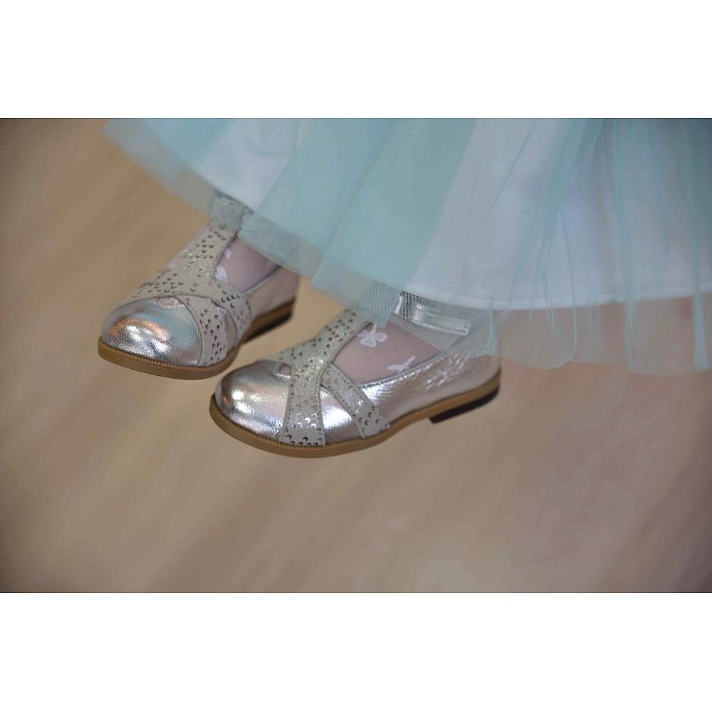 Детские туфли Bebbini серебряные для девочек натуральная кожа размер 21-30 (2301) Фото 3