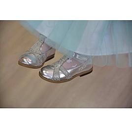 Детские туфли Bebbini серебряные для девочек натуральная кожа размер 21-22 (2301) Фото 3