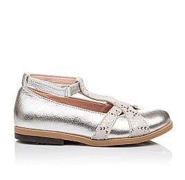Детские туфли Bebbini серебряные для девочек натуральная кожа размер 21-22 (2301) Фото 5