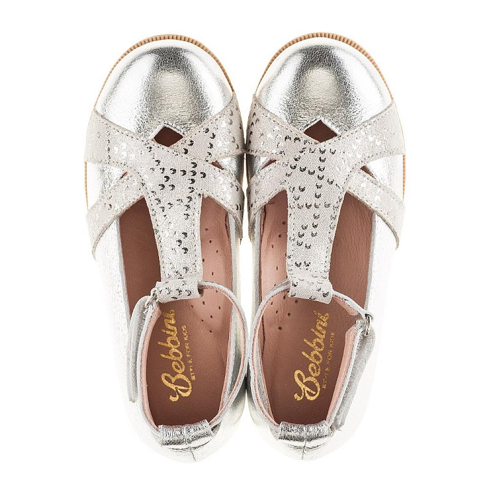 Детские туфли Bebbini серебряные для девочек натуральная кожа размер 21-30 (2301) Фото 6