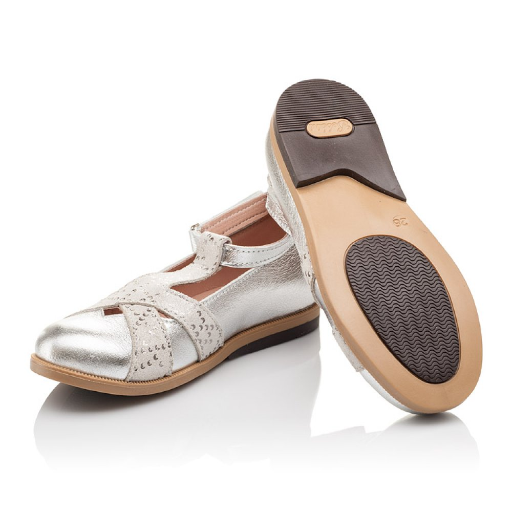 Детские туфли Bebbini серебряные для девочек натуральная кожа размер 21-30 (2301) Фото 7