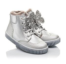 Детские зимние ботинки на меху Woopy Fashion серебряные для девочек  натуральная кожа размер 25-35 (2506) Фото 1