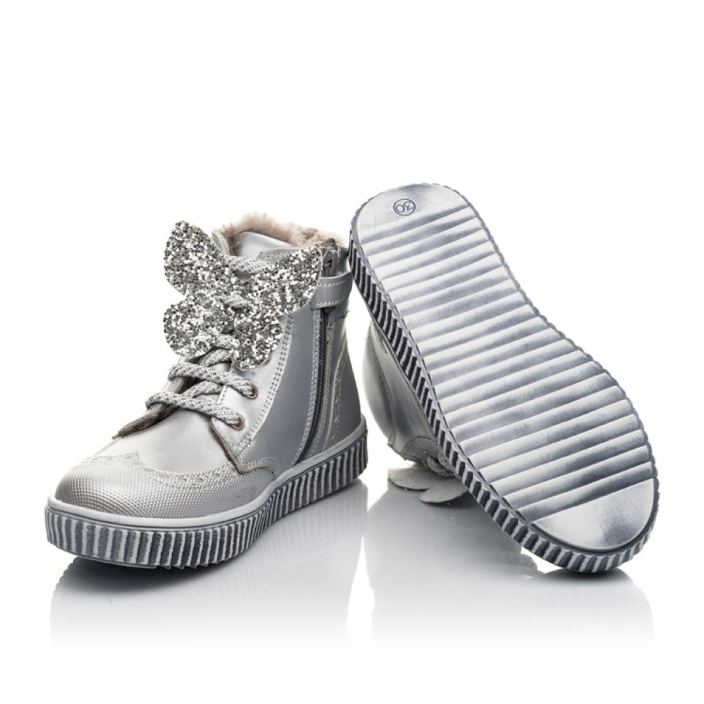 Детские зимние ботинки на меху Woopy Fashion серебряные для девочек натуральная кожа размер 25-36 (2506) Фото 2