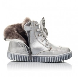 Детские зимние ботинки на меху Woopy Fashion серебряные для девочек  натуральная кожа размер 25-36 (2506) Фото 5