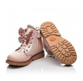Детские зимние ботинки на меху Woopy Fashion пудровые для девочек натуральный нубук размер 25-31 (2507) Фото 2