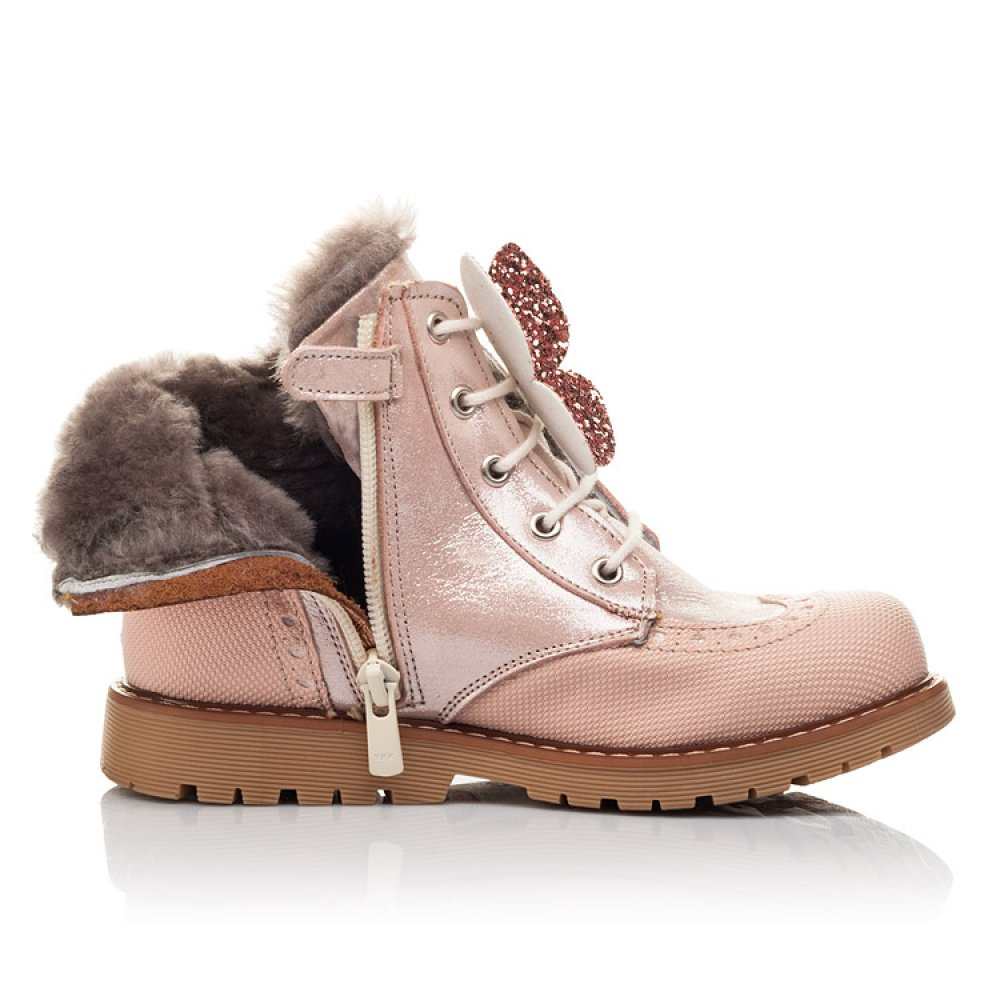 Детские зимние ботинки на меху Woopy Fashion пудровые для девочек натуральный нубук размер 25-38 (2507) Фото 5