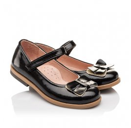 Детские туфли Bebbini черные для девочек натуральная лаковая кожа размер 26-26 (3005) Фото 1