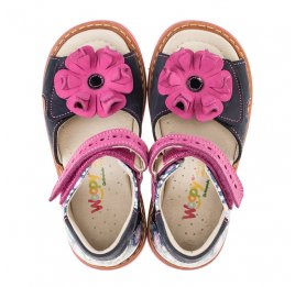 Детские ортопедические босоножки Woopy Orthopedic разноцветные, розовые для девочек натуральный нубук размер - (3012) Фото 5