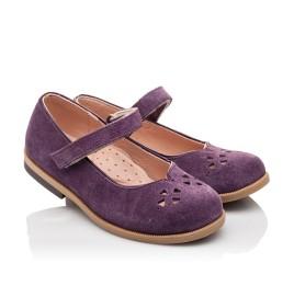 Детские туфли Bebbini фиолетовые для девочек натуральный нубук размер 24-30 (3015) Фото 1