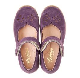 Детские туфли Bebbini фиолетовые для девочек натуральный нубук размер 24-24 (3015) Фото 5