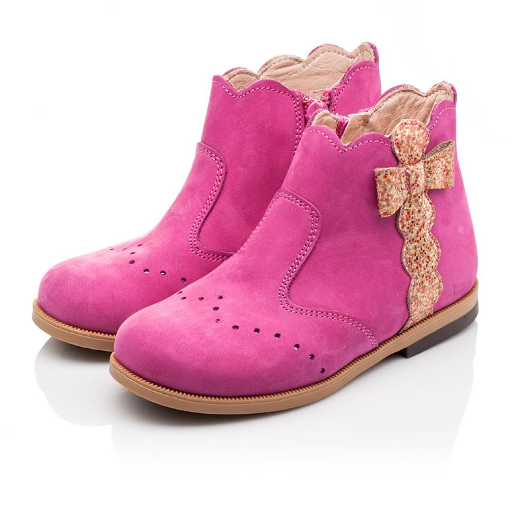 Детские демисезонные ботинки (подкладка кожа) Bebbini розовые для девочек натуральный нубук размер 21-30 (3016) Фото 3