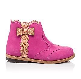 Детские демисезонные ботинки (подкладка кожа) Bebbini розовые для девочек натуральный нубук размер 21-24 (3016) Фото 4
