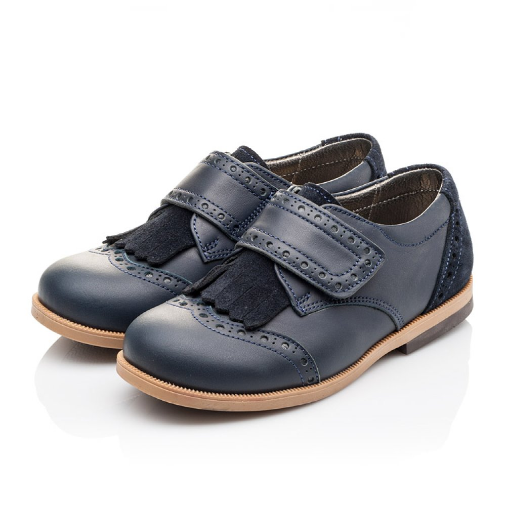 Детские туфли Bebbini синие для девочек натуральная кожа размер 22-30 (3020) Фото 3
