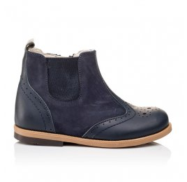 Детские демисезонные ботинки Bebbini темно-синие для девочек натуральная кожа размер 21-22 (3021) Фото 4