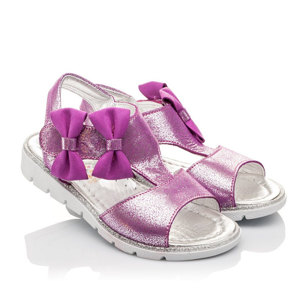Детские босоножки Woopy Orthopedic фиолетовые для девочек натуральная кожа размер 22-30 (3022) Фото 1