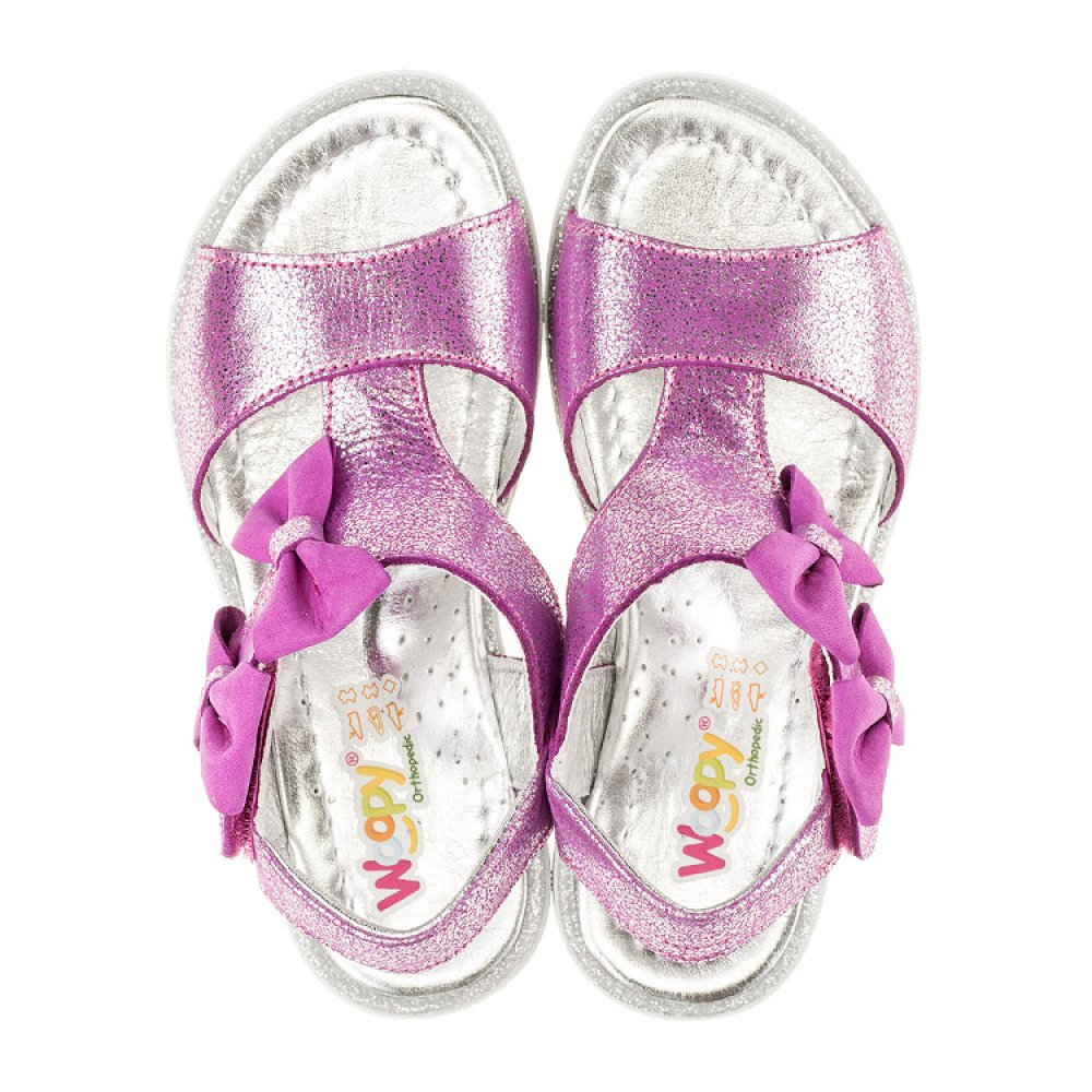 Детские босоножки Woopy Orthopedic фиолетовые для девочек натуральная кожа размер 22-30 (3022) Фото 5