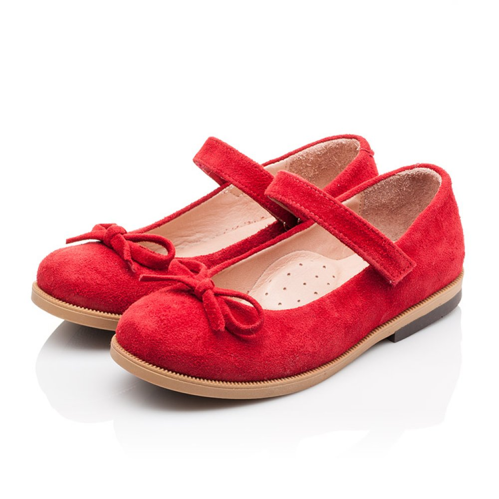 Детские туфли Bebbini красные для девочек натуральная замша размер 21-30 (3026) Фото 3