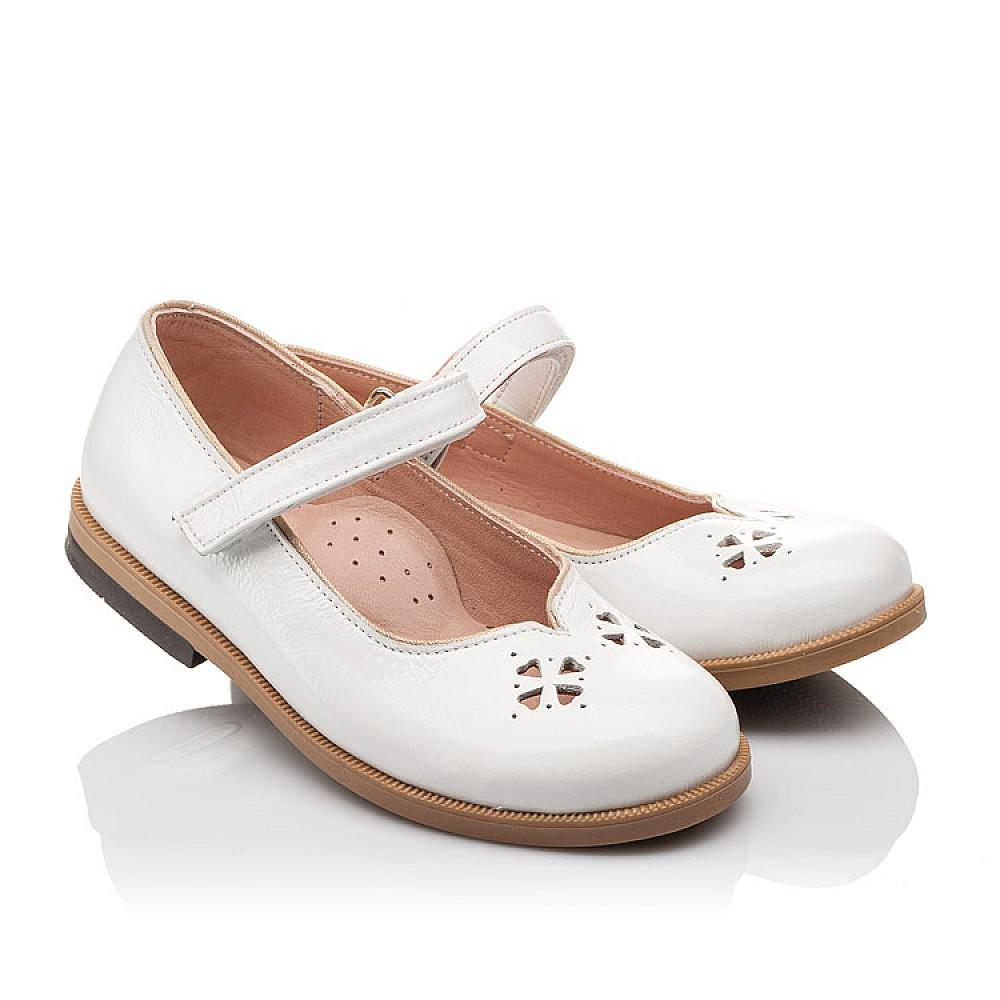 Детские туфли Bebbini белые для девочек натуральная лаковая кожа размер 21-30 (3028) Фото 1