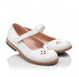 Детские туфли Bebbini белые для девочек натуральная лаковая кожа размер 21-22 (3028) Фото 1