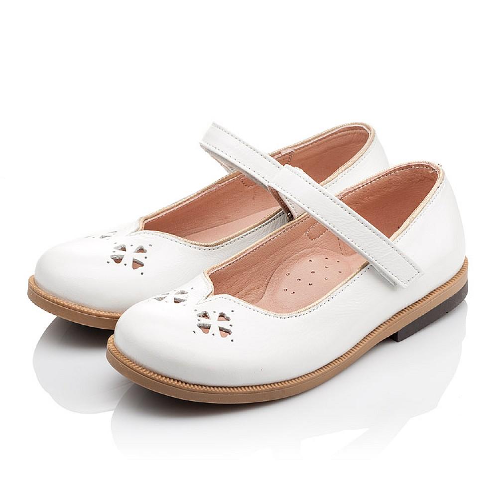 Детские туфли Bebbini белые для девочек натуральная лаковая кожа размер 21-30 (3028) Фото 3
