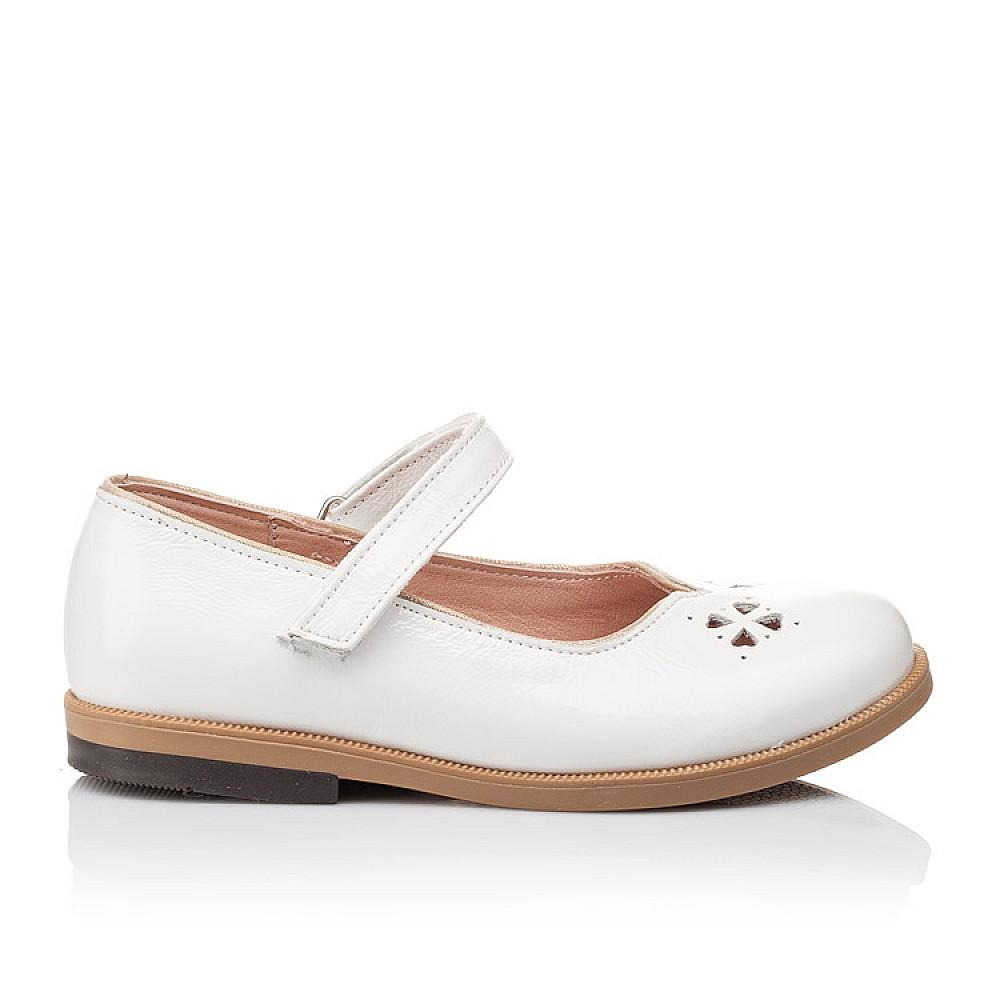 Детские туфли Bebbini белые для девочек натуральная лаковая кожа размер 21-30 (3028) Фото 4