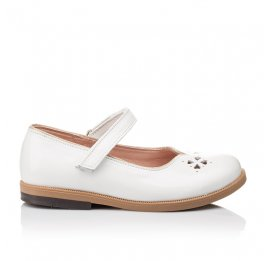Детские туфли Bebbini белые для девочек натуральная лаковая кожа размер 21-22 (3028) Фото 4