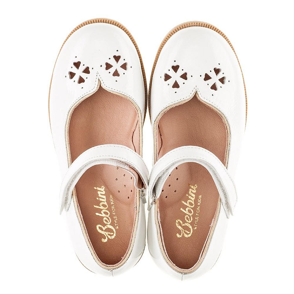 Детские туфли Bebbini белые для девочек натуральная лаковая кожа размер 21-30 (3028) Фото 5