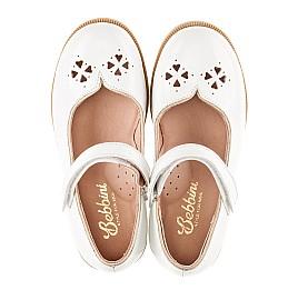 Детские туфли Bebbini белые для девочек натуральная лаковая кожа размер 21-22 (3028) Фото 5