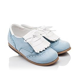 Детские туфли Bebbini голубые для девочек натуральный нубук размер 24-26 (3031) Фото 1