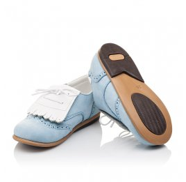 Детские туфли Bebbini голубые для девочек натуральный нубук размер 24-26 (3031) Фото 2