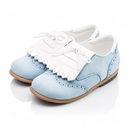 Детские туфли Bebbini голубые для девочек натуральный нубук размер 24-26 (3031) Фото 3