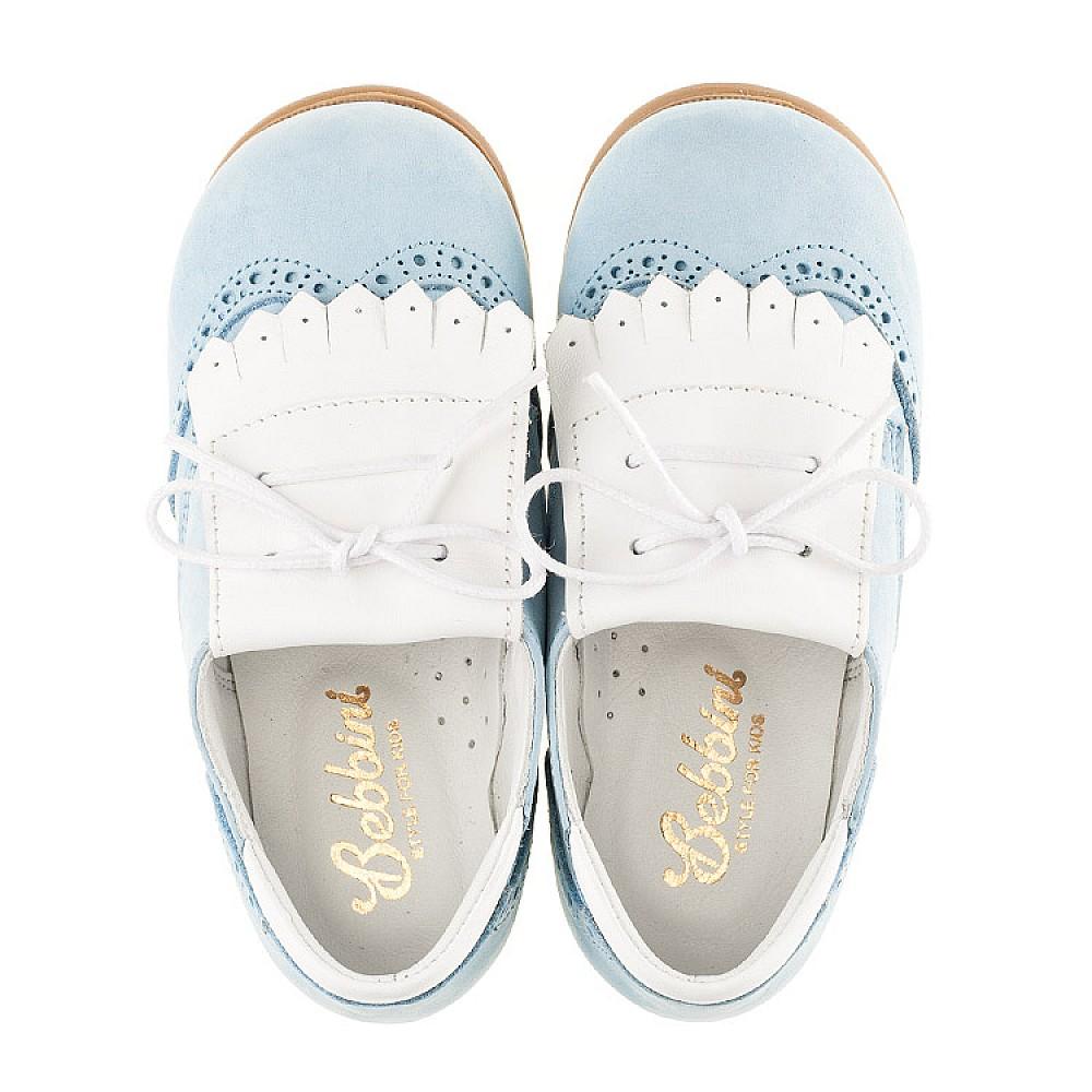 Детские туфли Bebbini голубые для девочек натуральный нубук размер 24-28 (3031) Фото 5