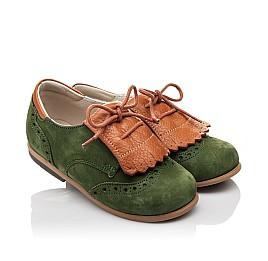Детские туфли Bebbini зеленые для мальчиков натуральный нубук размер 21-30 (3032) Фото 1
