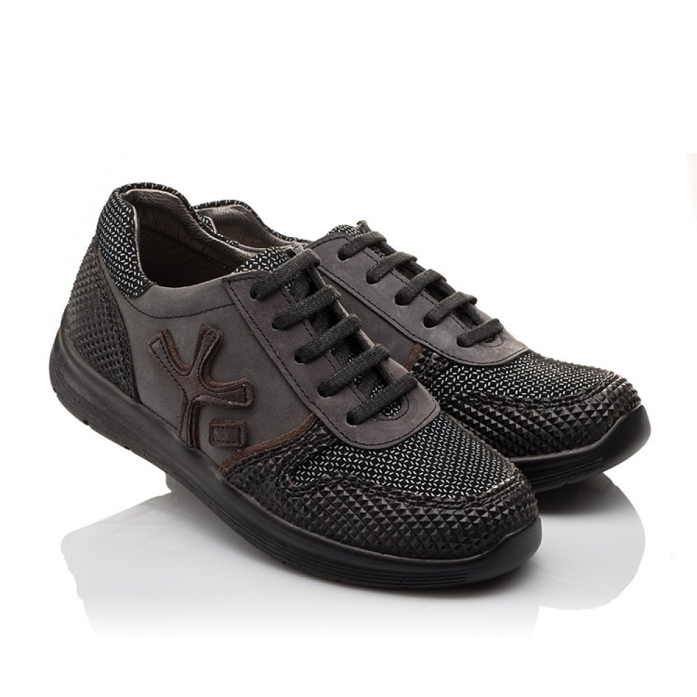 Детские кроссовки (шнурок резинка) Woopy Orthopedic серые, черные для мальчиков натуральная кожа размер 31-39 (3039) Фото 1