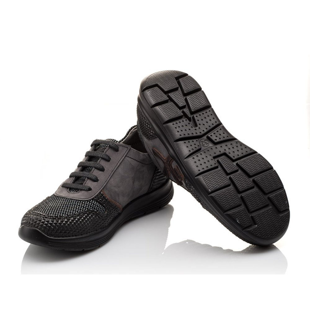 Детские кроссовки (шнурок резинка) Woopy Orthopedic серые, черные для мальчиков натуральная кожа размер 31-39 (3039) Фото 2
