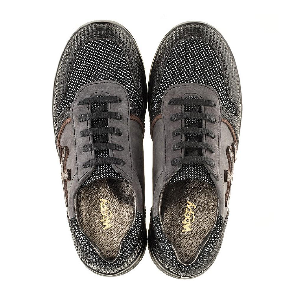 Детские кроссовки (шнурок резинка) Woopy Orthopedic серые, черные для мальчиков натуральная кожа размер 31-39 (3039) Фото 5