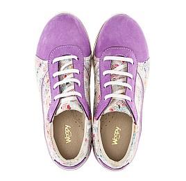 Детские кроссовки (шнурок резинка) Woopy Orthopedic сиреневые, разноцветные для девочек натуральный нубук размер 31-34 (3043) Фото 5