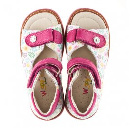 Детские ортопедические босоножки Woopy Orthopedic разноцветные, розовые для девочек натуральная кожа размер - (3055) Фото 5