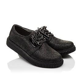 Детские туфли (шнурок резинка) Woopy Orthopedic черные для девочек натуральный нубук размер - (3072) Фото 1