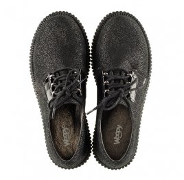 Детские туфли (шнурок резинка) Woopy Orthopedic черные для девочек натуральный нубук размер - (3072) Фото 4