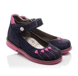 Детские туфли ортопедические Woopy Orthopedic темно-синие, розовые для девочек натуральный нубук размер - (3076) Фото 1