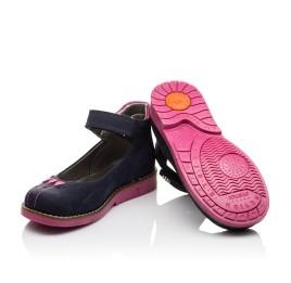 Детские туфли ортопедические Woopy Orthopedic темно-синие, розовые для девочек натуральный нубук размер - (3076) Фото 2