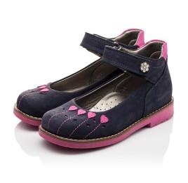 Детские туфли ортопедические Woopy Orthopedic темно-синие, розовые для девочек натуральный нубук размер - (3076) Фото 3