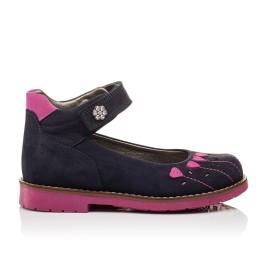 Детские туфли ортопедические Woopy Orthopedic темно-синие, розовые для девочек натуральный нубук размер - (3076) Фото 4