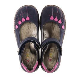 Детские туфли ортопедические Woopy Orthopedic темно-синие, розовые для девочек натуральный нубук размер - (3076) Фото 5