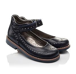 Детские туфли ортопедические Woopy Orthopedic темно-синие для девочек натуральная кожа размер - (3077) Фото 1